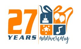27 Jaar Van De Verjaardagsviering Het Ontwerp Met Cake Vector