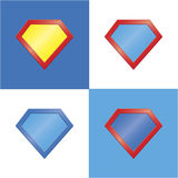 Van de het malplaatje lege super held van het Superheroembleem het kentekenreeks Royalty-vrije Stock Afbeelding