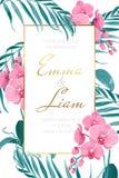 Van de het malplaatjeorchidee van de huwelijksuitnodiging de tropische bladeren royalty-vrije illustratie
