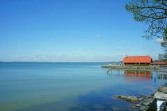 Van de het meerpijler van Chiemseechiemgau van het de hemellandschap de blauwe openluchtzomer München Beieren Beieren Duitsland d Royalty-vrije Stock Afbeelding