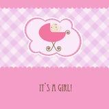 Van de het meisjesaankomst van de baby de aankondigings retro kaart Royalty-vrije Stock Afbeelding