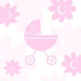 Van de het meisjesaankomst van de baby de aankondigingskaart Stock Afbeelding