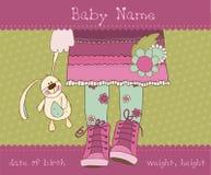 Van de het meisjesaankomst van de baby de aankondigingskaart Stock Foto