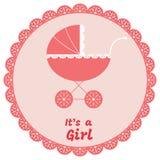 Van de het meisjesaankomst van de baby de aankondigingskaart Vector illustratie Stock Fotografie