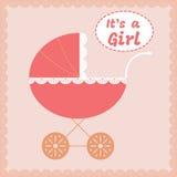 Van de het meisjesaankomst van de baby de aankondigingskaart Vector illustratie Royalty-vrije Stock Afbeeldingen