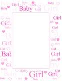 Van de het meisjesaankomst van de baby de kaart/de achtergrond Royalty-vrije Stock Afbeeldingen