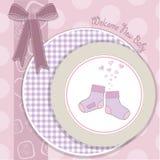 Van de het meisjesdouche van de baby de aankondigingskaart Royalty-vrije Stock Afbeelding