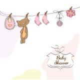 Van de het meisjesdouche van de baby de uitnodigingskaart Royalty-vrije Stock Foto's