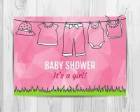 Van de het meisjesdouche van de baby de uitnodigingskaart Stock Afbeelding