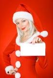 Van de het meisjesholding van Kerstmis het lege teken Royalty-vrije Stock Foto's