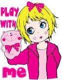 Van de het Meisjeskleding van marionettenjonge geitjes de T-shirt Vector Grafisch Ontwerp Stock Foto