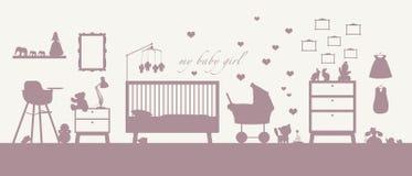 Van de het meisjesruimte van de baby het binnenlandse roze silhouet Royalty-vrije Stock Afbeelding