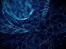 Van de het netwerk de digitale technologie van de netstroom abstracte achtergrond, blauwe kleur stock afbeeldingen