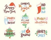 van de het Nieuwjaartekst van 2018 gelukkige het embleemkenteken het van letters voorzien vakantie Stock Illustratie