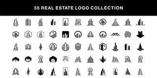 55 van de het ontwerpinzameling van het onroerende goederenembleem het vectormalplaatje royalty-vrije illustratie