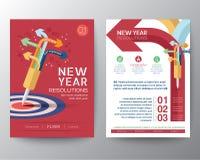Van de het ontwerplay-out van de brochurevlieger vector het malplaatje iwith Nieuwjaar Reso Royalty-vrije Stock Foto