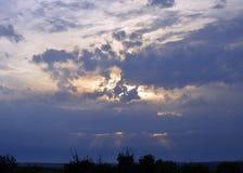 Van de het onweers de bewolkte hemel van de de herfstschoonheid van de het zonlicht oranje bosschemer van het de zomersilhouet va Royalty-vrije Stock Fotografie