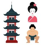 Van de het oriëntatiepuntreis van Japan van de de pictogrammeninzameling reizen de vector van het de cultuurteken het ontwerpelem Royalty-vrije Stock Foto