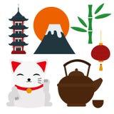 Van de het oriëntatiepuntreis van Japan van de de pictogrammeninzameling vector de cultuurteken Stock Afbeeldingen