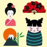 Van de het oriëntatiepuntreis van Japan van de de pictogrammeninzameling het vectorontwerp van het de cultuurteken Royalty-vrije Stock Afbeeldingen