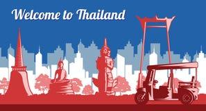 Van de het oriëntatiepuntvlag van Thailand de kleurenlicht en schaduw of zwart-wit styl royalty-vrije illustratie