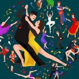 Van de het paarman en vrouw van Yong het dansen tango met hartstocht, de vector geïsoleerde illustratie van tangodansers royalty-vrije illustratie