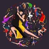 Van de het paarman en vrouw van Yong het dansen tango met hartstocht, de vector geïsoleerde illustratie van tangodansers Royalty-vrije Stock Foto's