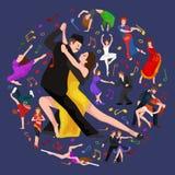 Van de het paarman en vrouw van Yong het dansen tango met hartstocht, geïsoleerde dansers vectorillustratie Royalty-vrije Stock Foto's