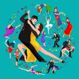 Van de het paarman en vrouw van Yong het dansen tango met hartstocht, geïsoleerde dansers vectorillustratie Royalty-vrije Stock Afbeelding