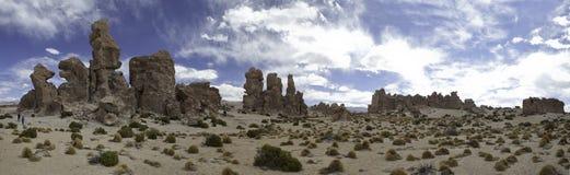 Van de het panoramazand en rots van de woestijn vorming Stock Afbeeldingen