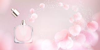 Van de het parfumfles van het toiletwater de vectorillustratie Royalty-vrije Stock Afbeelding