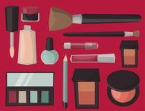Van de het parfummascara van make-uppictogrammen de kam van de zorgborstels zag de vrouwelijke bijkomende vector van de oogschadu vector illustratie
