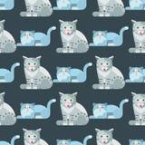 Van de het patroon grappig decoratief pot van de katten vectorillustratie leuk dierlijk naadloos de karakters katachtig binnenlan royalty-vrije illustratie