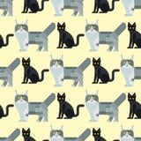 Van de het patroon grappig decoratief pot van de katten vectorillustratie leuk dierlijk naadloos de karakters katachtig binnenlan stock illustratie