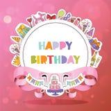 Van de het patroon vectorverjaardag van de verjaardagspartij van het beeldverhaaljonge geitjes de geboortecake of cupcake viering royalty-vrije illustratie