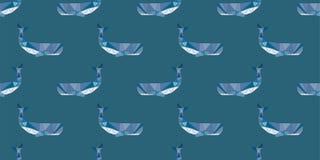 Van de het patroon het veelhoekige stijl van de walvisorka naadloze patroon royalty-vrije illustratie