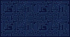 Van de het patroontechnologie van de lijnkring abstract de elektriciteits vectorontwerp als achtergrond Royalty-vrije Stock Fotografie