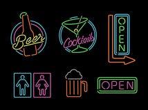 Van de het pictogram retro bar van het neonlichtteken vastgesteld het bier open etiket Stock Fotografie