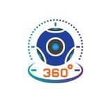 van de het pictogram vector, virtuele werkelijkheid van de 360 graad de panoramische videocamera illustratie van het het apparate Stock Afbeeldingen