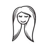 Van de het pictogramhand getrokken krabbel van het vrouwengezicht vector de illustratie zwarte lijnen, gesloten meisjesogen vector illustratie