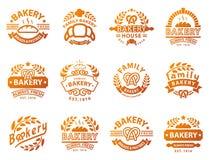 Van de het pictogrammanier van het bakkerij gouden kenteken van de de stijltarwe modern van het het voedseletiket vector retro ge stock illustratie