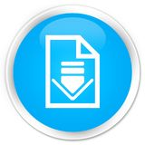 Van de het pictogrampremie van het downloaddocument de cyaan blauwe ronde knoop Stock Afbeeldingen
