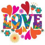 Van de het pop-art psychedelisch kleurrijk Liefde van mod. van de jaren '60stijl de tekstontwerp Royalty-vrije Stock Foto's