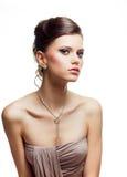 Van de het portret jonge vrouw van de schoonheid de avonduitrusting Royalty-vrije Stock Afbeeldingen