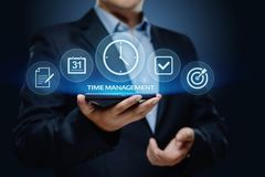 Van de het projectefficiency van het tijdbeheer de strategiedoelstellingen het concept van bedrijfstechnologieinternet stock foto's