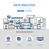 Van de het rapportmijnbouw van gegevensanalytics van de de banner vlakke lijn de kunst vectorpictogrammen royalty-vrije illustratie