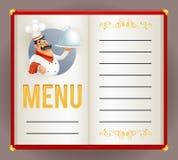 Van de het Restaurantchef-kok van de menuelite Cook Serving Food 3d van het het Karakterontwerp van de Beeldverhaalmascotte Vecto vector illustratie
