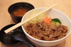 Van de het Rundvleesrijst van de lunchmaaltijd de vastgestelde Japanse stijl Stock Afbeelding