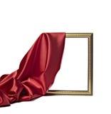 Van de het satijnstof van de zijde de textuur houten frame als achtergrond Royalty-vrije Stock Fotografie