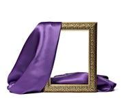 Van de het satijnstof van de zijde de textuur houten frame als achtergrond Royalty-vrije Stock Foto's
